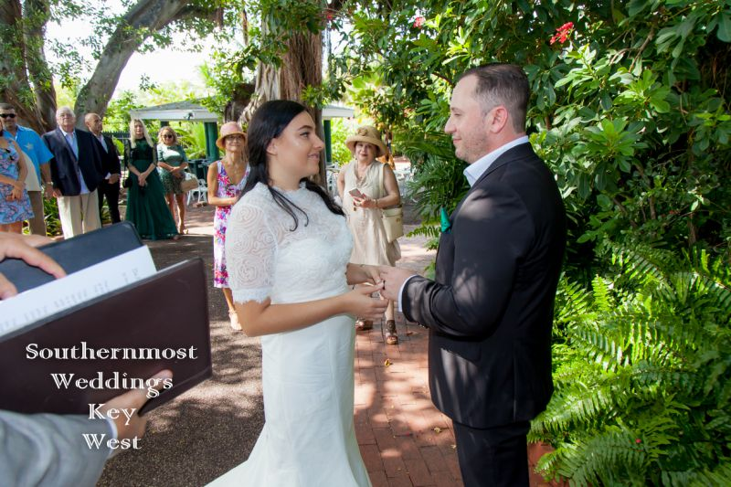 Wedding couple getting married in the West Martello Garden in Key West Florida